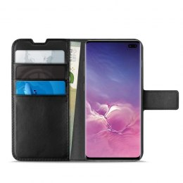 PURO Booklet Wallet Case - Etui Samsung Galaxy S10+ z kieszeniami na karty + stand up (czarny)